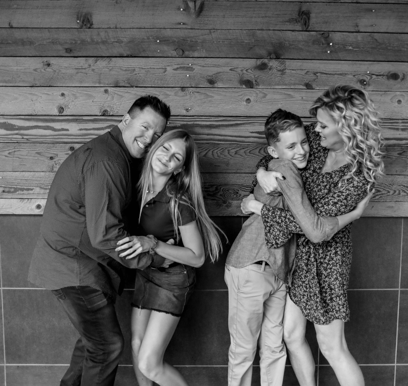 black and white picture of family of four family kids photography aribella photography