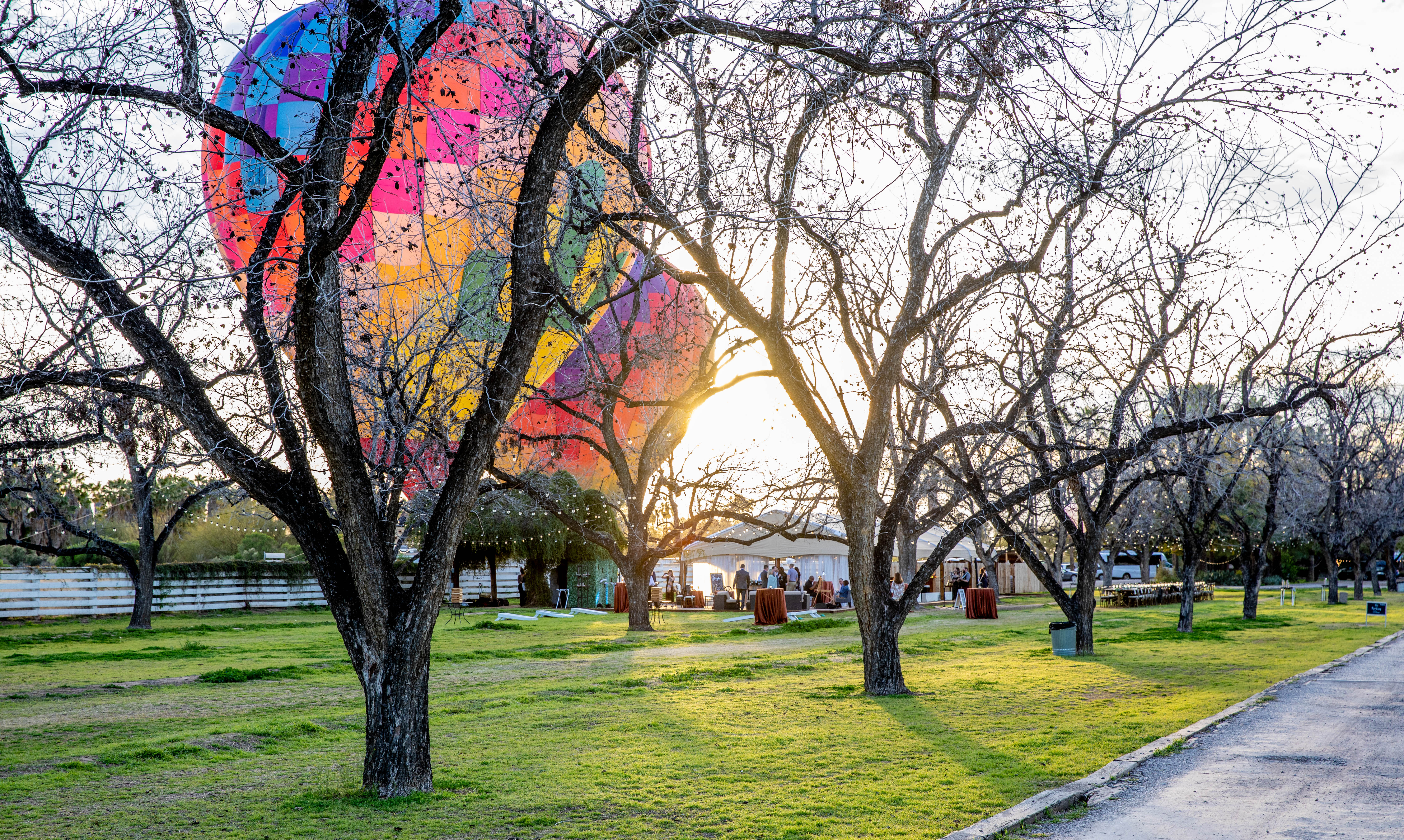 two colorful hot air balloons in a park aribella photography event pictures