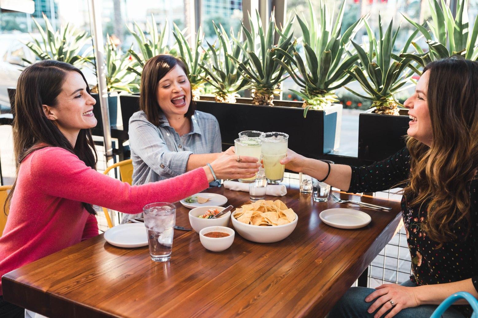 three women toast drinks over lunch aribella photography branding brand photography
